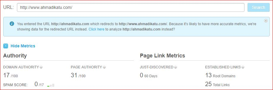 Domain Authority Result