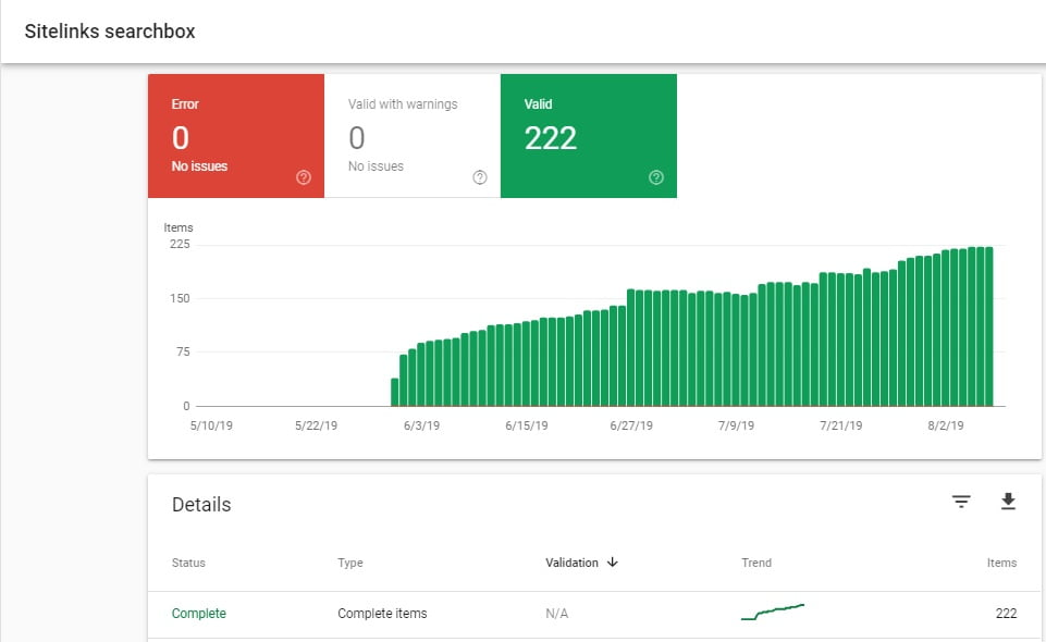 Google Search Console - Sitelink